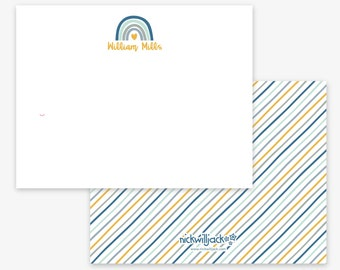 Boho Rainbow Note Cards, Personalized Rainbow Flat Note Cards, Personalized Rainbow Stationery for Kids, Rainbow Cards, Kids' Stationery
