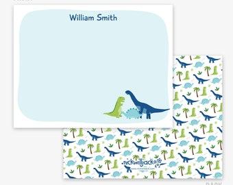 Dinosaur Note Cards | Personalized Dinosaur Flat Note Cards | Dino Stationery for Kids | Dinosaur Cards | Kids' Stationery | T-Rex