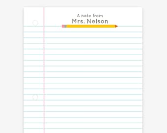 Teacher Pencil Lined Notebook Paper Notepad | Custom Notepad for Teachers | Back to School Gifts | Teacher Gift | Custom Teacher Stationery