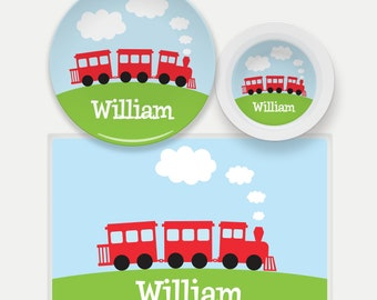 Personalized Train Plate - Pick your color!, Train Dinnerware, Table Set for Kids, Boys Dinnerware, Train Gifts for Kids, Train Placemat