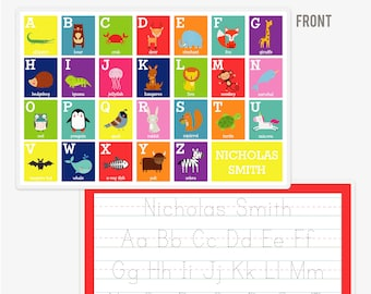 Animal Alphabet Placemat | Personalized ABC Placemat | Custom Kids Placemat | Personalized Placemat for Kids | Educational Gifts | A to Z
