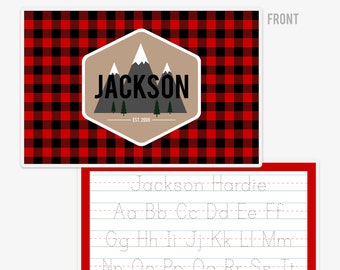 Buffalo Plaid Woodland Placemat | Buffalo Check Boys Placemat | Custom Kids Placemat |Personalized Placemat for Kids | Lumberjack | Outdoors