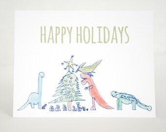 Dinosaur Christmas Cards, Dino Cards, Dinosaur Holiday Cards, Holiday Dinosaurs, Kids Christmas Cards, Hand-drawn Dinosaur Cards for Kids