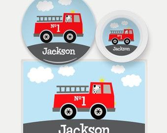 Personalized Firetruck Plate, Kids Firetruck Dishes, Firetruck Placemat, Firetruck Gifts for Kids, Fire Fighter, Fire Engine Dinnerware