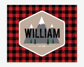 Personalized Woodland Puzzle   Buffalo Plaid Outdoors Puzzle   Kids Puzzle   Stocking Stuffer for Kids   Mountain Scene   Educational Gifts