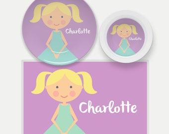Personalized Kids Plate, 'Mini Me'-Girls' Plate, Kid Bowl, Personalized Placemat, Personalized Dinnerware Set, Kids Mealtime Set, Girl Plate