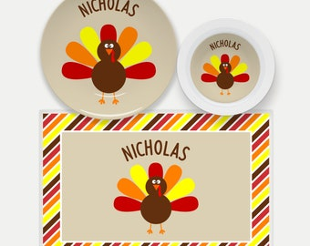 Personalized Thanksgiving Plate for Kids   Kids Thanksgiving Dish Set   Turkey Plate   Custom Kids Dishes   Kids Name Plate   Placemat
