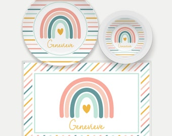 Boho Rainbow Plate for Kids   Pastel Rainbow Dinnerware Set   Rainbow Placemat   Kids Dishes   Kids Name Plate   Placemat   Girls Plate