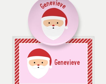 Personalized Christmas Plate for Kids   Christmas Dinnerware Set   Santa Plate   Custom Kids Dishes   Kids Name Plate   Holiday Tableware