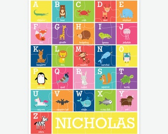 Personalized Animal Alphabet Puzzle for Kids, ABC Animals, Toddler Gifts, Name Puzzle, Custom Kids Puzzle, Personalized Kids Gifts, Alphabet