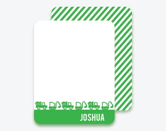 Kids Personalized Construction Flat Note Cards, Personalized Stationery for Kids, Digger, Dump Truck, Excavator, Trucks, Kids Stationery