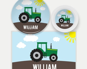Tractor Plate, Bowl, Placemat, Personalized Tractor Dinnerware, Kids Plate, Farm Dish Set for Kids, Tractor Tableware, Farm Placemat, Boys