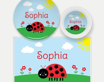 Ladybug Plate, Bowl, Placemat, Ladybug Dinnerware, Kids Plate, Ladybug Placemat, Ladybug Dish Set for Kids, Gifts for Girls, Insects