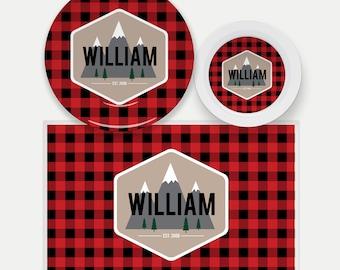 Buffalo Plaid Woodland Dinnerware   Buffalo Check Boys Plate   Custom Kids Placemat  Personalized Plate for Kids   Lumberjack   Outdoors