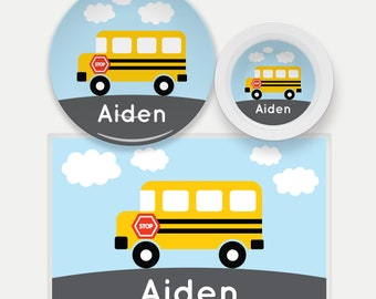 School Bus Plate-School Bus Bowl-School Bus Placemat-Personalized Bus Dinnerware Set-Custom Kids Dishes-Personalized Mealtime Set