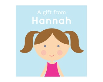 Personalized Girls Stickers or Tags, Mini Me Girl, Custom Girl Stickers, Kids Gift Labels, Girls Stickers, Stationery for Kids, Look-Alike
