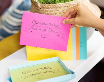 Series 1 : Open this When Letter Writing Kit with Printed Envelopes Six Designs; boyfriend letters, back to college, memory letter, set