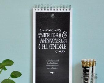 Perpetual Birthday Calendar, Chalkboard Style. Anniversary Perpetual Calendar, Birthday Reminder, Birthday Tracker, Hanging Calendar, Book