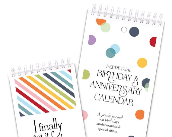 2 Piece Gift Set Confetti Dots Perpetual Calendar and Rainbow Stripes Password Book