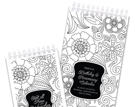 2 Piece Gift Set Coloring Flowers Perpetual Calendar and Password Book