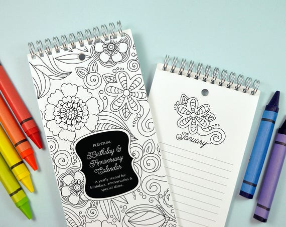 Coloring Book Flowers Birthday and Anniversary Calendar Now with Full Bleed Cover for Coloring