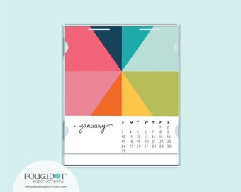 2020 Rainbow Foil Embossed Desk Calendar by Faux Designs with Convertible CD Case Stand