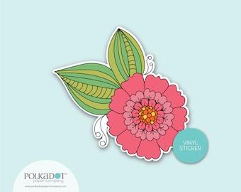 Ruffle Flower Vinyl Sticker, Pink Flower Sticker, Laptop Case Sticker, Sticker Collection, Stickerhappy, Stickerslap, Floral Sticker, Gift