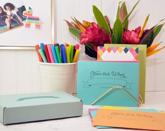 Open this When Letter writing Kit : 12 papers, 12 printed envelopes, printed gifting box