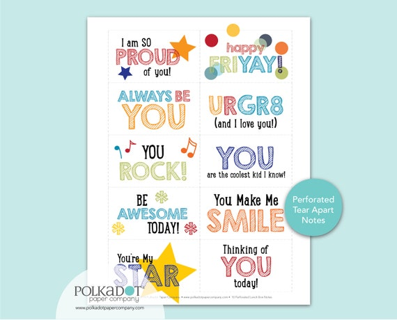 GR8 Lunchbox Notes - Perforated Set of 10 Tear-Apart Notes