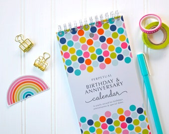 Rainbow Perpetual Birthday & Anniversary Calendar, Perpetual Calendar, Birthday Reminder Calendar, Birthday Tracker, Special Events, Dates