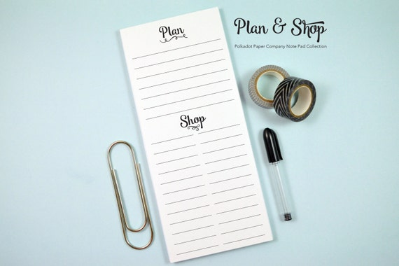 """Plan/Shop Note Pad - 50 Pages - 3.6x8.5"""""""