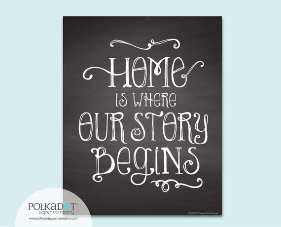 Home is Where Our Story Begins Chalkboard Style Framable Print - Family Quote