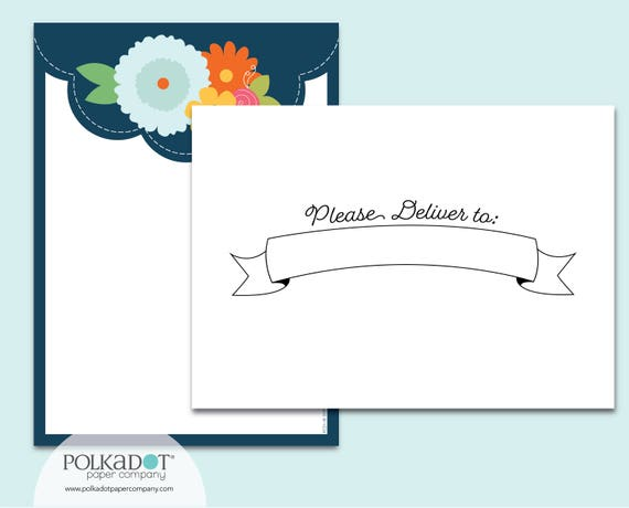Please Deliver to... Navy Scallop Stationery Set with Printed Envelopes