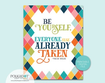 Be Yourself. Everyone Else is Already Taken - Oscan Wilde Quote - Download and Print 2 Sizes