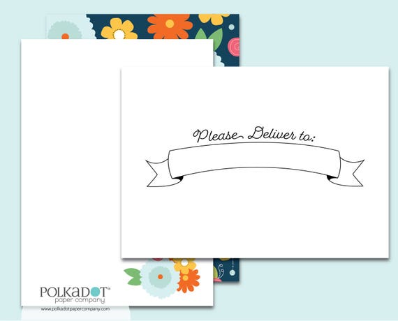 Please Deliver to... Navy Flowers Stationery Set with Printed Envelopes