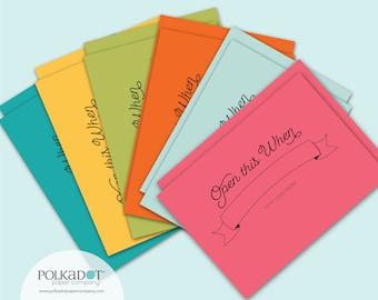 Open When Envelopes: 12 printed envelopes for love letters, best friend, custom envelopes to decorate, hand lettering, open when letters