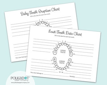 Baby Tooth Eruption & Lost Tooth Charts Set