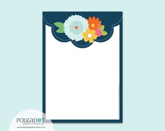 Navy Scallop Flat Stationery : Set of 12 Writing Papers with Envelopes