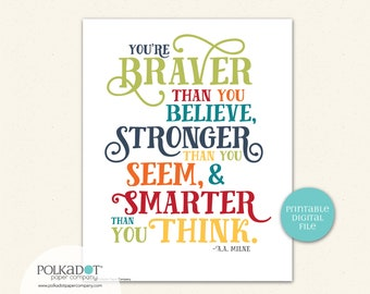 Braver than You Think, A.A. Milne (Winnie the Pooh) Quote - Download and Print