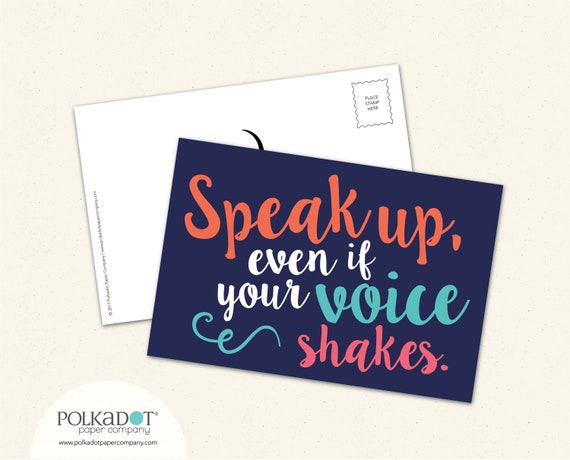 Bulk Order Activist Postcard - Speak Up, Even If Your Voice Shakes