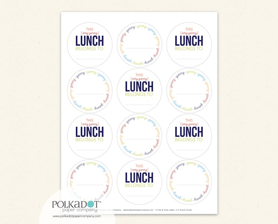 Yummy Lunch Labels - Set of 12 Sticker Notes