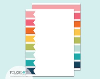 Rainbow Ribbons Flat Stationery : Set of 12 Writing Papers with Envelopes