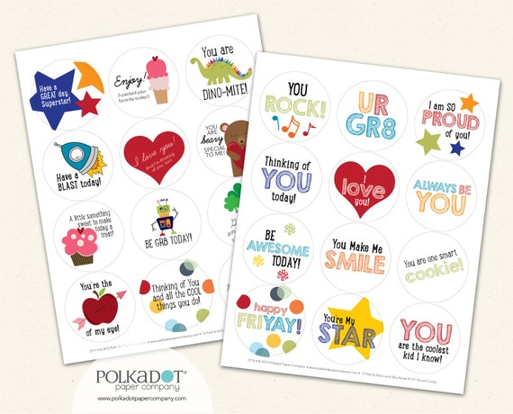 Two Pack Lunchbox Notes - Set of 24 Sticker Notes