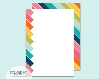 Rainbow Diagonal Flat Stationery : Set of 12 Writing Papers with Envelopes