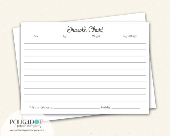Growth Chart Baby & Child Record Keepsake Card