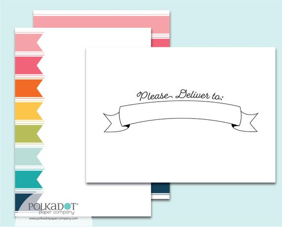 Please Deliver to... Rainbow Ribbons Stationery Set with Printed Envelopes