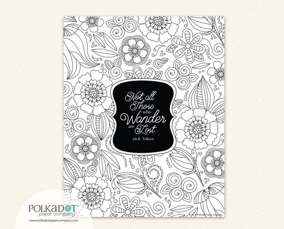 Not All Who Wander are Lost - Color Your Own Framable Print