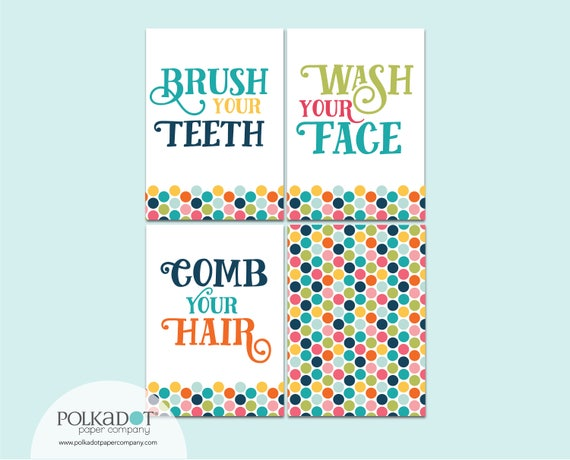 Set of 4 Bathroom Prints for Kids