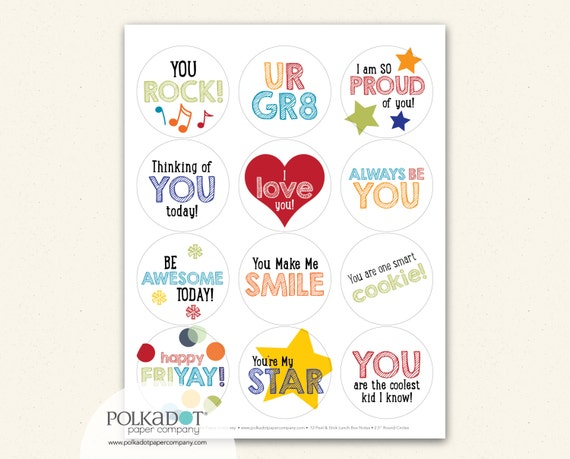 You Rock Lunchbox Notes - Set of 12 Sticker Notes