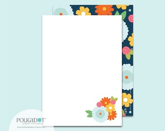Navy Flowers Flat Stationery : Set of 12 Writing Papers with Envelopes